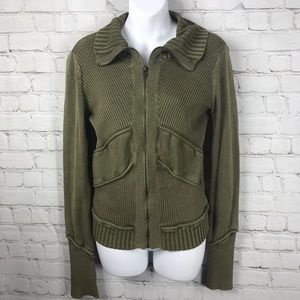 DKNY Cotton Zip Down Olive Drab Sweater Jacket